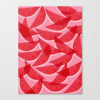 watermelon Canvas Prints featuring Watermelon by Georgiana Paraschiv