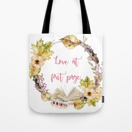 Autumn Love at first page Tote Bag