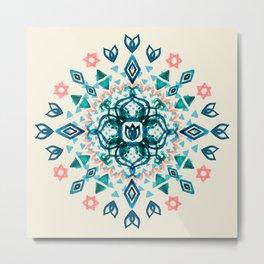 Watercolor Lotus Mandala in Teal & Salmon Pink Metal Print