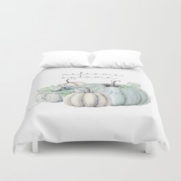 welcome autumn blue pumpkin Duvet Cover