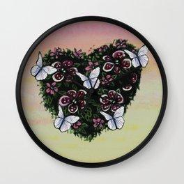 Le coeur de l'amour en fleur Wall Clock