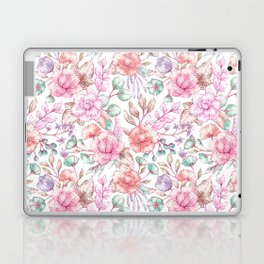 Vintage pink coral pastel green elegant chic floral Laptop & iPad Skin