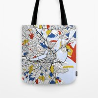 boston map Tote Bags featuring Boston Mondrian map by Mondrian Maps