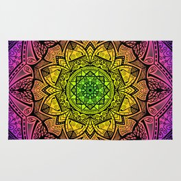 Mandala Rainbow Square Rug