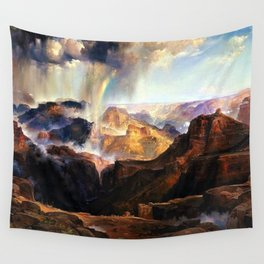 The Chasm of the Colorado, Windswept Rain Storm, Grand Canyon landscape by Thomas Moran Wall Tapestry