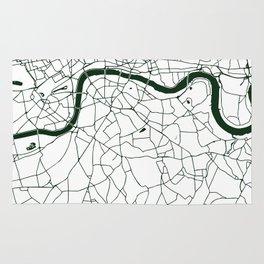 London White on Green Street Map Rug