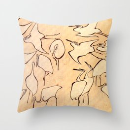 """Katsushika Hokusai """"Cranes from Quick Lessons in Simplified Drawing"""" (1823)(original) Throw Pillow"""