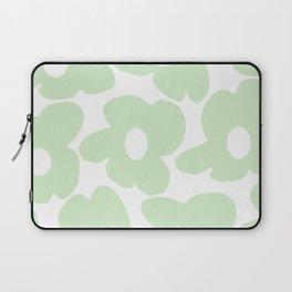 Large Baby Green Retro Flowers White Background #decor #society6 #buyart Laptop Sleeve
