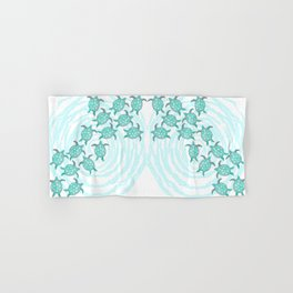 Watercolor Teal Sea Turtles on Swirly Stripes Hand & Bath Towel