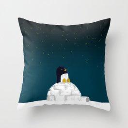 Star gazing - Penguin's dream of flying Throw Pillow