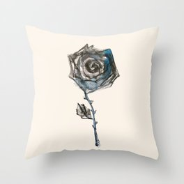 Royal Blue Rose Throw Pillow
