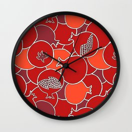 Pomegranate Harvest with Fruit and Seeds Wall Clock