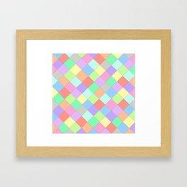 Coloured Squares With Black Lines Framed Art Print