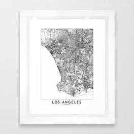 Los Angeles White Map Framed Art Print