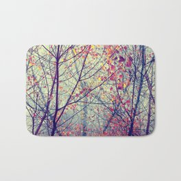trees misty morning Bath Mat
