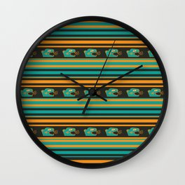 Aztec Mexican Mythological Jaguar Pattern Wall Clock