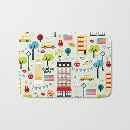 Fun New York City Manhattan travel icons life hipster pattern Bath Mat