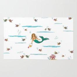 Fashionable mermaid - blue Rug