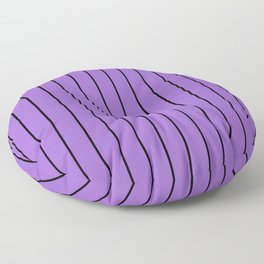Thin Lines - Black & Amethyst Purple Floor Pillow