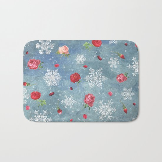 Snow and Roses Bath Mat