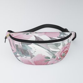 Floral Watercolor, Pink and Gray, Watercolor Print Fanny Pack