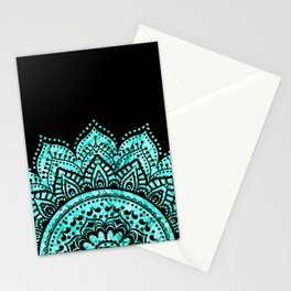 Black teal mandala Stationery Cards