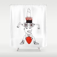 strawberry Shower Curtains featuring Strawberry by Studio Teer