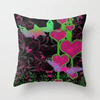 kingdom hearts Throw Pillows featuring Kingdom Stars Hearts by KingdomStarsClothing