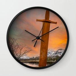 Llanberis Lake and Sword Snowdonia Wall Clock