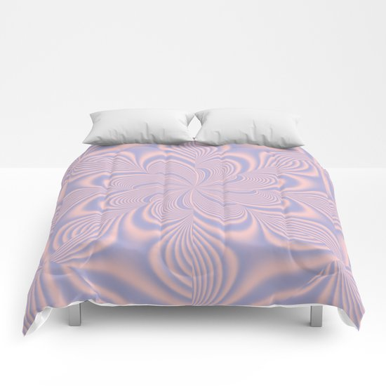 Whirly Bloom Fractal in Rose Quartz and Serenity Comforters