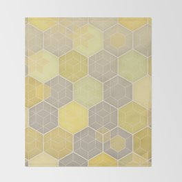 Lemon & Grey Honeycomb Throw Blanket