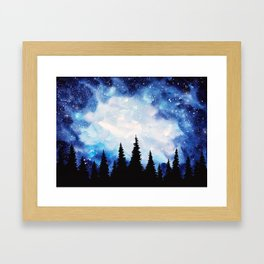 Watercolor Starry Galaxy Forest Painting Framed Art Print