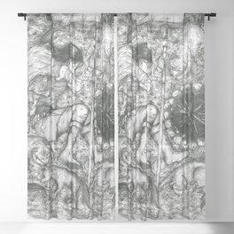 Girl sleeping with wolfs  Sheer Curtain