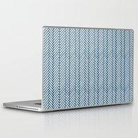 herringbone Laptop & iPad Skins featuring Herringbone Navy by Project M