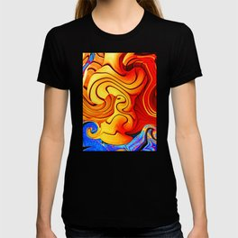 Dramatic abstract geometric infinite celestial waves, water, swirl pattern design in multicolors T-shirt