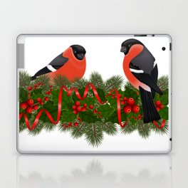 Bullfinch birds on fir tree branches Laptop & iPad Skin