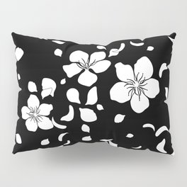Sakura Flowers White on Black Pillow Sham