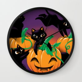 Hello Cat Halloween Wall Clock