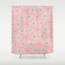 80's pretty in pink w/ turquoise triangles & green leaves Shower Curtain