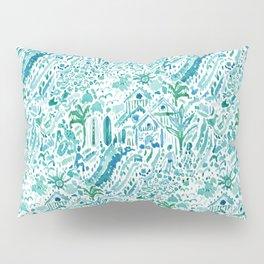 IDEAL BEACH HOUSE Aqua Watercolor Print Pillow Sham