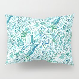 IDEAL BEACH HOUSE Aqua Watercolor Print Pillow Sham