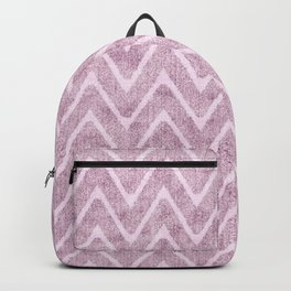 Pastel Dusty Mauve Zigzag Terrycloth Look-a-Like Backpack
