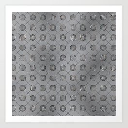 Silver Double Happiness Symbol pattern Art Print