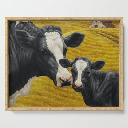 Holstein Cow and Cute Calf Serving Tray