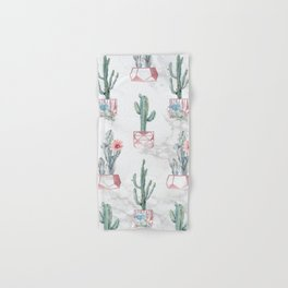Cactus Rose Gold Marble Potted Cactuses and Succulents Hand & Bath Towel