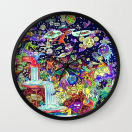 Illustration Comic: Neon Glow in Color Wall Clock