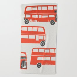 London Double Decker Red Bus Beach Towel