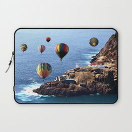 Flying Colorful Hot air Balloons over Newfoundland Laptop Sleeve