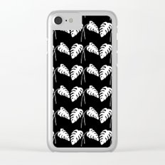 Tropical Monstera Leaves White on Black Clear iPhone Case
