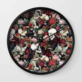 Vintage Floral With Skulls Wall Clock
